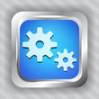 blue metallic icon with gear on striped background