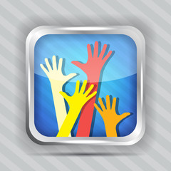 happy hands icon on a striped background
