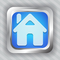 blue home button icon on the striped background