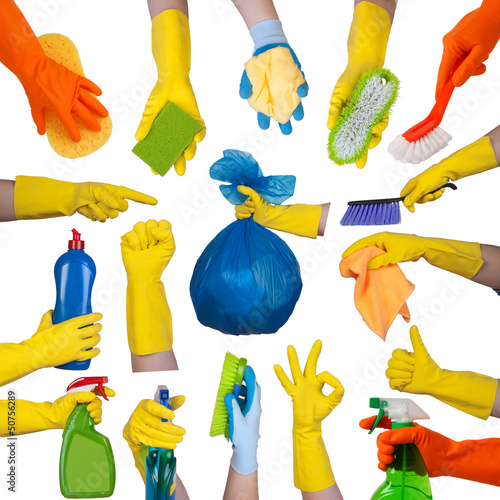 Hands in rubber gloves doing housework