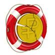 Монета с символом российского рубля в спасательном кругу