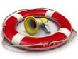 Мегафон лежит в спасательном кругу