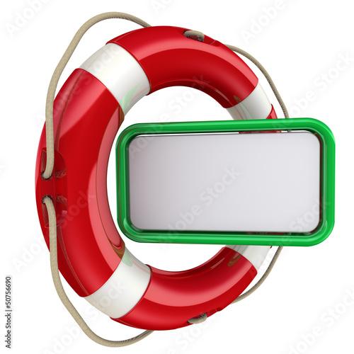Текстовое поле и спасательный круг