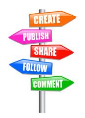 Blogging guidepost, vector illustration
