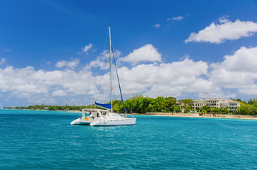 Catamaran in Torquoise Water and Blue Sky