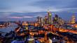 canvas print picture - Frankfurt am Abend von oben