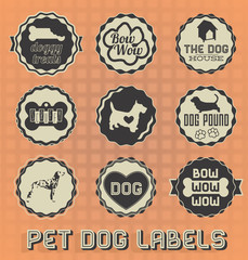 Vector Set: Vintage Pet Dog Labels and Icons