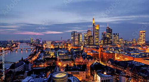canvas print picture Frankfurt am Abend von oben
