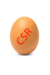 Egg with CSR stamp isolated on white background