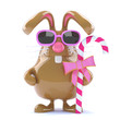 Chocolate bunny with stick of candy