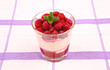 raspberry mascarpone cream with mint
