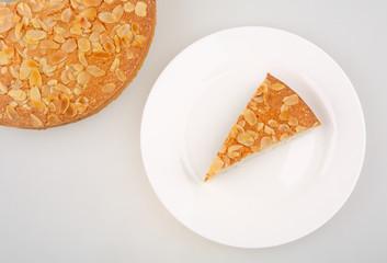 almonds piece dessert on white plate