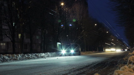 Time lapse - Low angle of snowy street in Kharkov