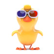 Easter chick is wearing 3d glasses