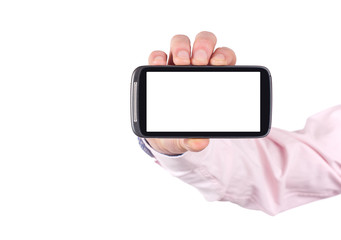 hand holding blank mobile smartphone with clipping path