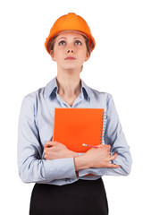 Woman in a protective helmet looking up