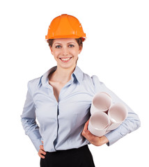 Woman in a helmet with construction plans
