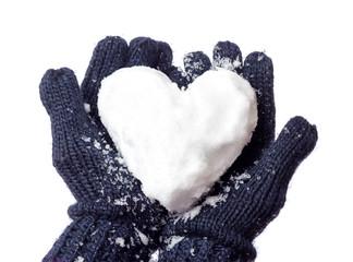 Damenhandschuhe und Schneeherz
