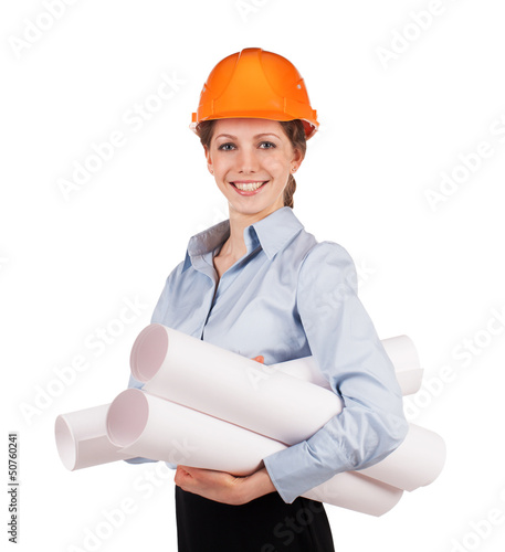 Girl in a protective helmet with drawings