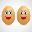 Love eggs on white background. Happy couple