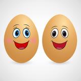 Love eggs on white background. Happy couple