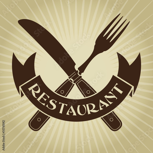 Vintage Styled knife and fork / Restaurant Seal