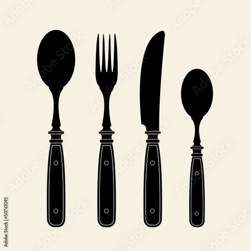 Vintage Cutlery Silhouettes