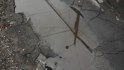 City puddle. Toronto, Ontario, Canada.