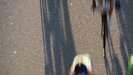 Overhead view of road cyclists