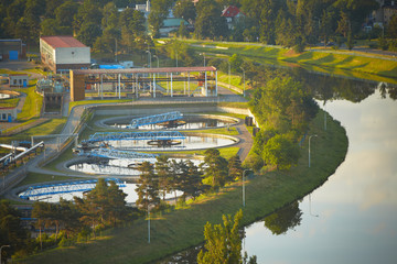 Waste water treatment plant at the sunrise, Prague