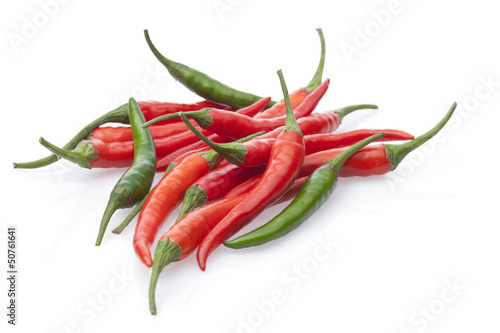 group chili peppers isolated on a white