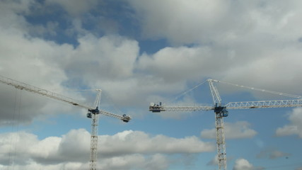 Two cranes. Timelapse.
