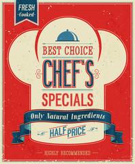 Vintage Chef`s specials Poster. Vector illustration.