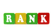 rank - isolated text in wooden building blocks