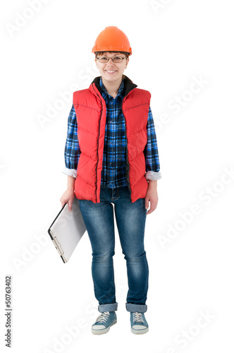engineer woman isolated
