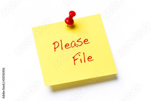 Please File Note isolated on white