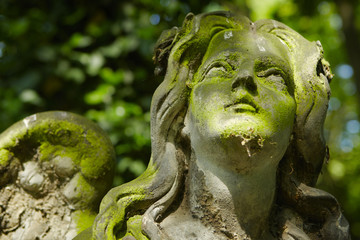 Statue of an angel on old cemetery