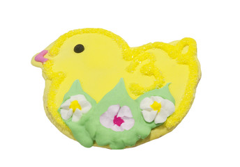 homemade easter chick cookie, isolated