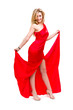Full length of sexy woman in red dress