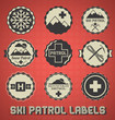 Vector Set: Vintage Ski Patrol Labels and Icons