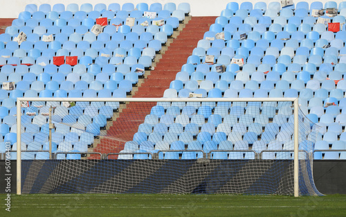 football goal in an empty stadium