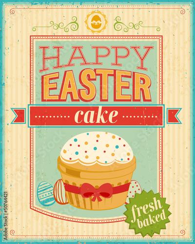 Vintage Easter card. Vector illustration.
