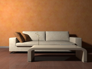 Wohndesign - Sofa beige vor orangener Tapete