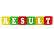 result - isolated text in wooden building blocks