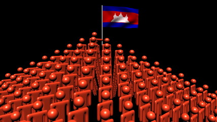 pyramid of men with rippling Cambodia flag animation