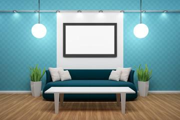 Bilderrahmen mit schwarzem Sofa und blauer Wand