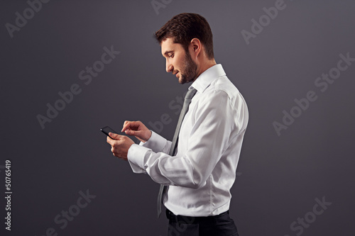 sideview portrait of businessman