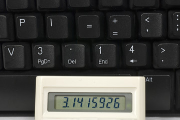 Pi on a keyboard and a calculator