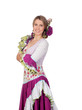 Spanish girl dressed in traditional costume Andalusian