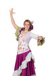 Spanish girl dressed in traditional costume Andalusian dancing